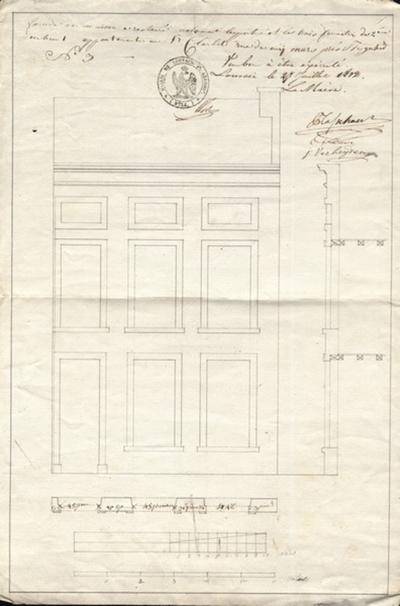 Façade de maison à restauré notament la porte et les trois fenetres de 2ieme en haut appartenante au Sr Clarbots rue du mij mars près de Ste Gertrude