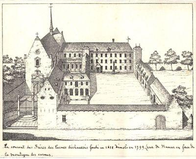 Le couvent des Frères des Carmes déchaussés fondé en 1652 démoli en 1799. (rue de Namur en face de/la montagne des carmes.