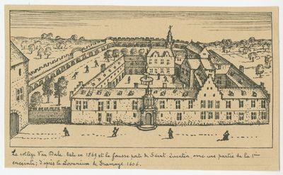 Le Collège Van Dale bati en 1569 et la fausse porte de Saint-Quentin, avec une partie de la 1ère enceinte; d'après le Lovanium de Gramaye 1606.