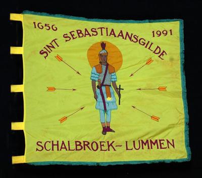 Vlag van schuttersgilde Sint-Sebastiaan Schalbroek 1991
