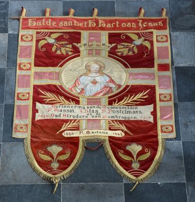 Vaandel gewijd aan het Heilig Hart en de Oudstrijders van Membruggen
