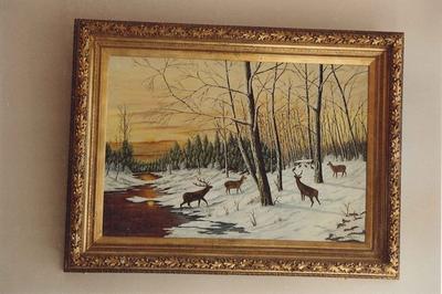 Winterlandschap met herten.