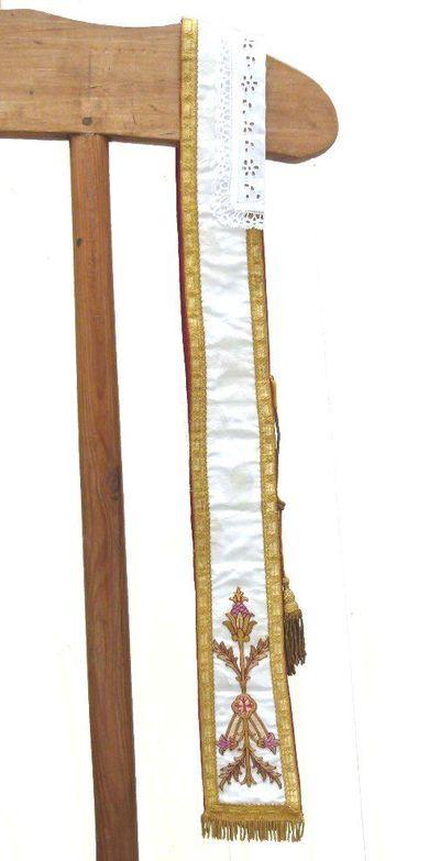 stola - ceremoniestola in witte zijde met polychroom borduursel