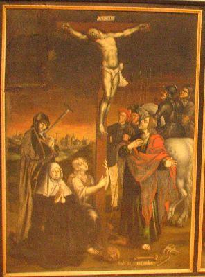 Christus aan het kruis met schenkersportret van een zuster