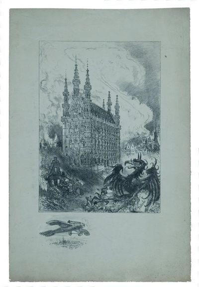 Facsimile van een tekening met het stadhuis en de Grote Markt van Leuven met de oorlogspuinen van 1914
