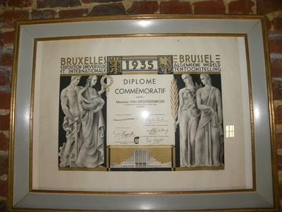 Diplôme Commémoratif aan de Algemene Wereldtentoonstelling te Brussel