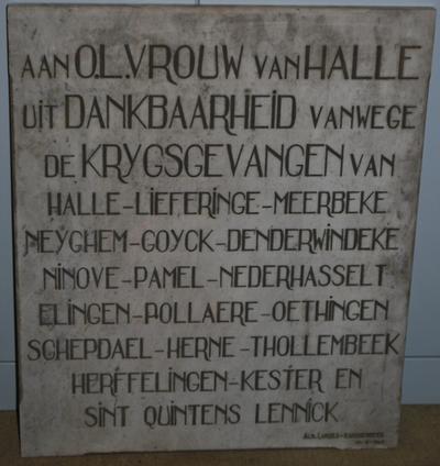 Wereldoorlog II (Halle) - Gedenkplaat krijgsgevangenen Halle en omgeving, 1940