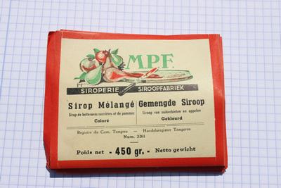 Etiket van Meeckers om op strooppotten met gemengde stroop te plakken