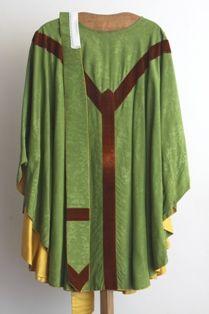 stola in groene zijde en bruin fluweel