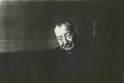 Carlo Valkenborgh (°1957), portret Mgr. Heuschen (1915-2002), 1982, papier.