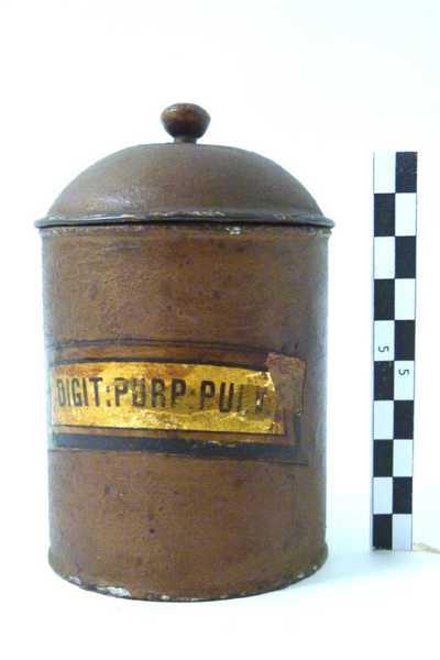 metalen pot met deksel; DIGIT: PURP: PULV: