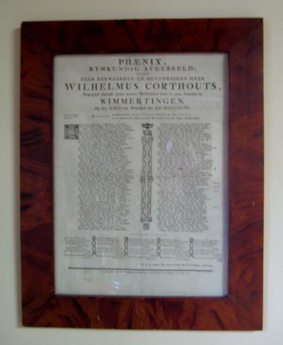 Gedenkprent intrede Wilhelmus Corthouts