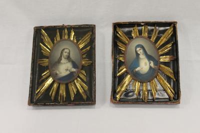 Fotolijst met een afbeelding van het H.Hart van Jezus en het H.Hart van Maria