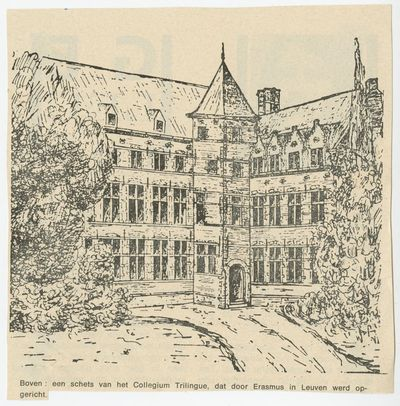 Een schets van het Collegium Trilingue, dat door Erasmus in Leuven werd opgericht