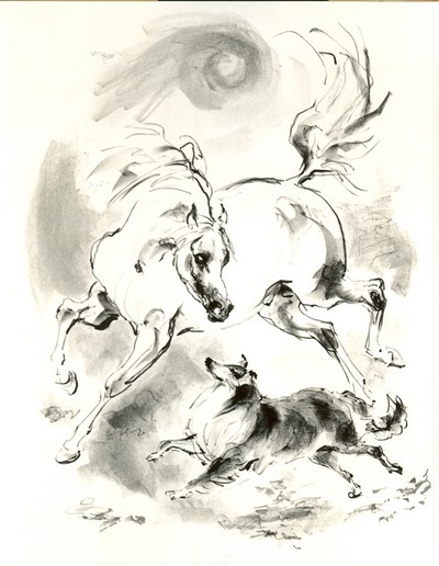 Emil Kotrba (1912-1983), Paard en Hond, genummerd 29/47 1977, papier, lithografie.