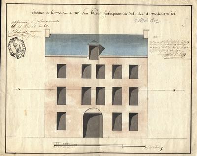 Elevation de la maison de Mr, Van Bever, fabriquant en sel, rue de Malines N° 121