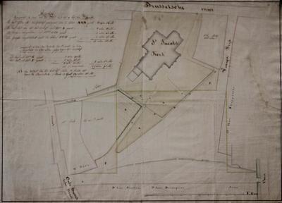 Plattegrond van het Sint-Jacobsplein betreffende de inplanting van de Sint-jacobskerk en het Sint-Jacobskerkhof