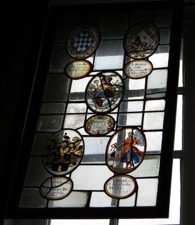 Anoniem, samengesteld glasraam 'Cistertium 1657' van Herkenrode, glas-in-lood.