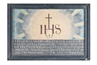 Monogram IHS met gebed van Franciscus de Hieronymo