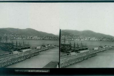 Anoniem, stereokaart met panorama van Genua, s.d., glas.