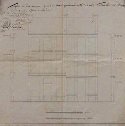 Façade de deux maisons séparées à bâtir appertenantes à Mr, et Mle, Finoelst subnris 82 et 83, situées rue de Diest à Louvain