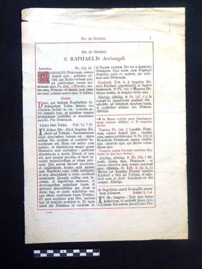 papieren blad uit missaal: Die 24 Octobris S. RAPHAELIS Archangeli