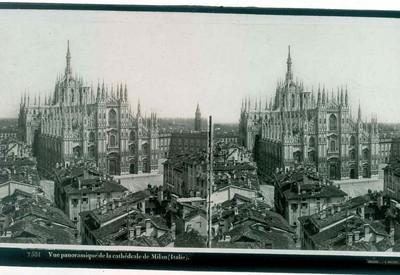 Ferrier p.f. & Soulier, J. Lévy Sr., stereokaart zicht op de Dom van Milaan, s.d., glas.