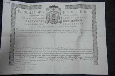 reliekcertificaat voor reliek van de heilige Leonardus van Porto Maurizio