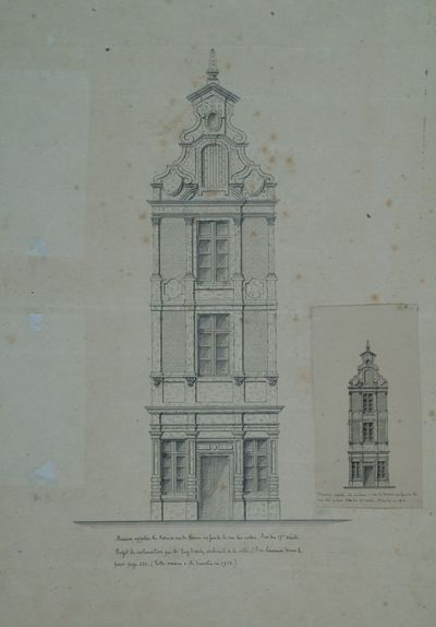 Maison appelée la Molaire rue de Namur en face de la rue des cordes. Fin du 17e siècle