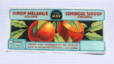 Rechthoekig etiket van Meekers om op strooppotten met gemengde (gekleurde) stroop te plakken