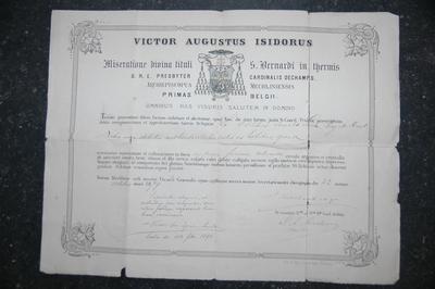 reliekcertificaat voor reliek van de heilige Lucia V.M.