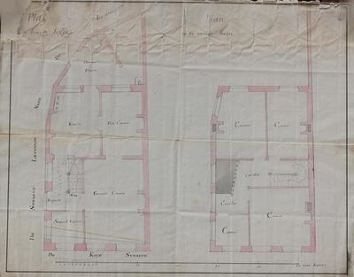 Plattegrond van het gelijkvloers en van de eerste verdieping van een huis in de Vaartstraat