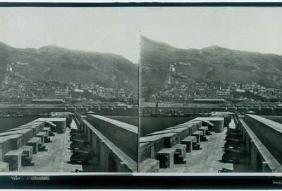 Ferrier p.f. & Soulier, J. Lévy Sr., stereokaart met panorama van Gibraltar, s.d., glas.