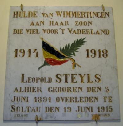 Gedenkplaat Leopold Steyls