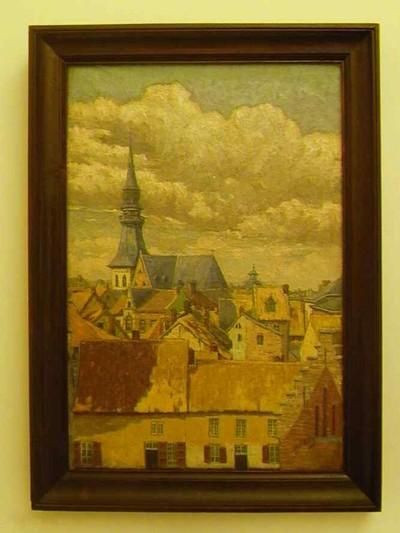 Djef Anten (1851-1913), Dakencomplex Hasselt, s.d., olie op doek.