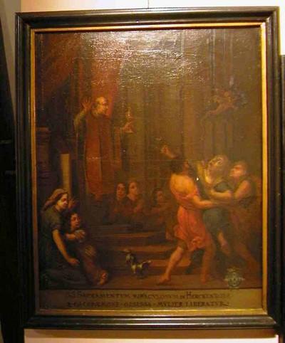 Anoniem, Genezing van een door de boze geest bezeten vrouw, Sacrament van Mirakel, schilderij uit een cyclus van zes, 18de eeuw, olie op doek.