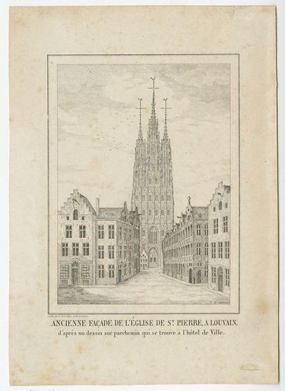 Ancienne façade de l'église de St. Pierre, à Louvain, d'après un dessin parchemin qui se trouve à l'hôtel de Ville