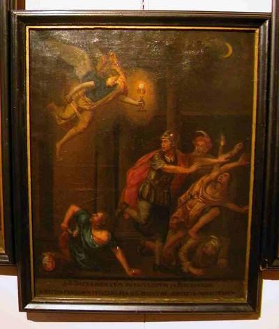 Anoniem, Het Heilig Sacrament van Mirakel beschermt de abdij tegen rovers, schilderij uit een cyclus van zes, 18de eeuw, olie op doek.