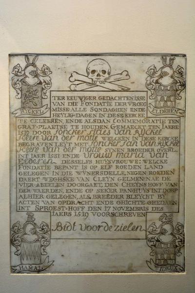 Grafmonument Staes van Ryckel, Jan van Ryckel en Maria van Elderen