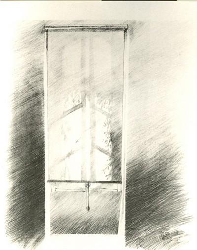 Oscar Roland Schroth (°1937), Vensterraam, s.d., papier, lithografie.