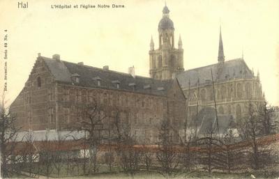 Postkaart Halle Ziekenhuis en Sint-Martinusbasiliek