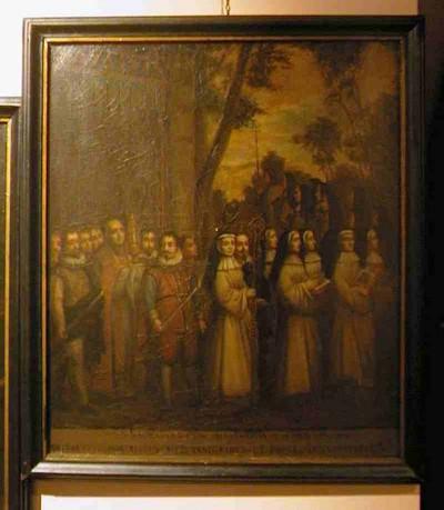 Anoniem, Processie met het Heilig Sacrament van Mirakel ten tijde van abdis Barbara de Rivière d' Arschot (1728-1744), schilderij uit een cyclus van zes, 1720-1750, olie op doek.