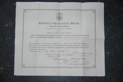 reliekcertificaat voor reliek van de heiligen Sebastiaan en Rochus