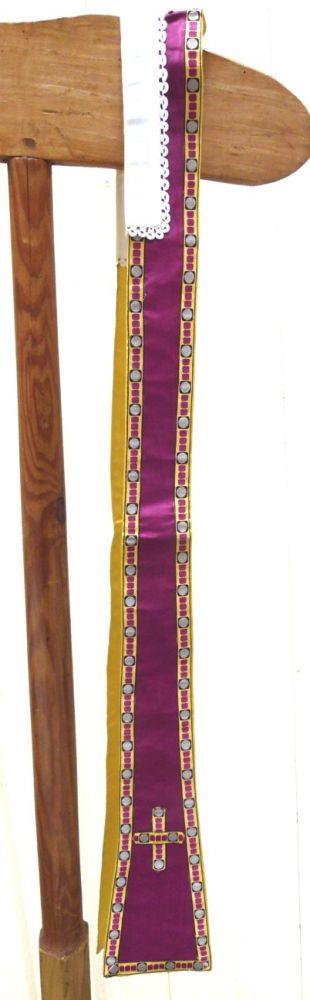 stola in violetkleurige moiré, zijde gouddraad en borduursel