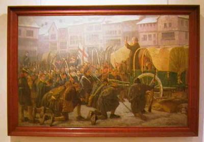 Djef Swennen (1871-1905), Zegening van de boerenkrijgers op de Grote Markt, 1899, olie op doek.