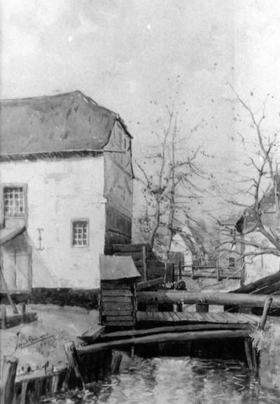 Paul Marie Bamps (1862-1932), De Molenpoort vanuit het zuidoosten, 1894, aquarel.