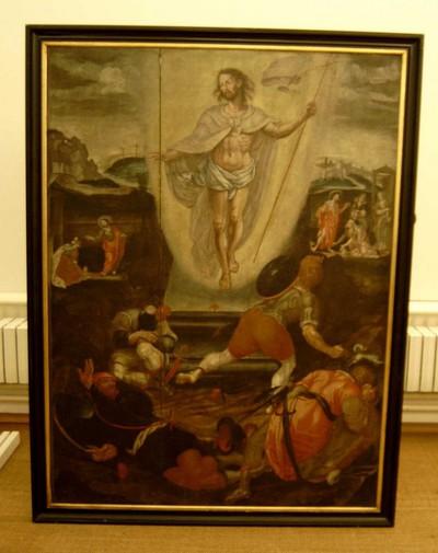 Anoniem, schilderij met voorstelling van de verrijzenis van Jezus, eerste helft 16de eeuw, olie op paneel.