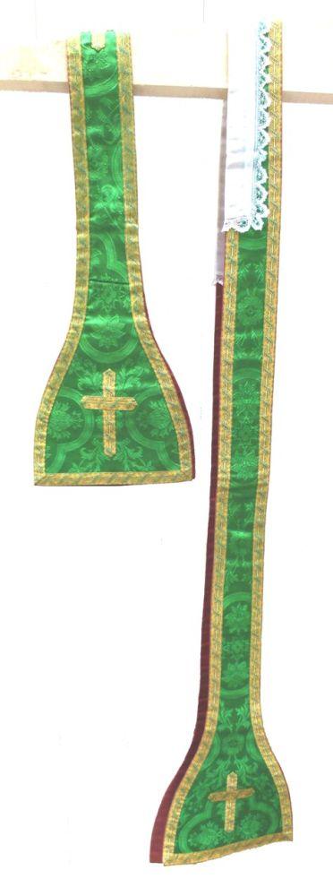 stola in groene damast en gouddraad