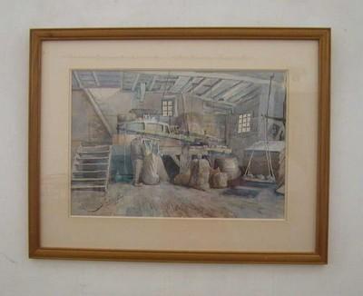 Paul Marie Bamps (1862-1932), Binnenzicht molen aan de Molenpoort, 1893, aquarel.