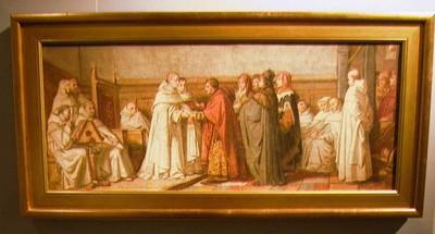 Godfried Egide Guffens (1823-1901), ontwerp voor wandschildering De dekens en de handelaars van de Hansesteden bieden hun charters en privileges aan om in het archief van de Sint-Michielsabdij te Antwerpen te bewaren, 1315, 1856-1858, olie op doek.